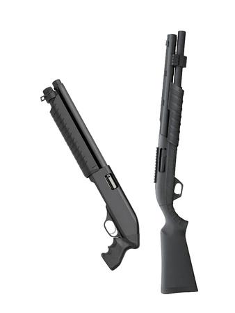 blunderbuss: Black shotguns isolated Stock Photo