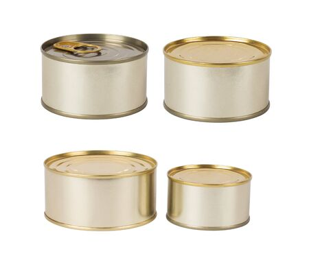 tin cans: Tin cans isolated on white Stock Photo