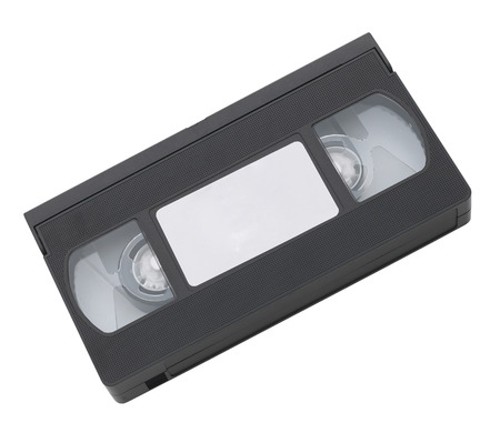 video cassette tape: Old video cassette tape with blank label for copyspace Stock Photo