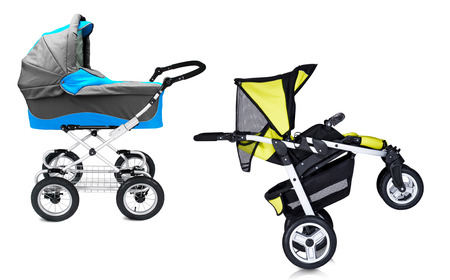 prams: modern prams isolated against a white background