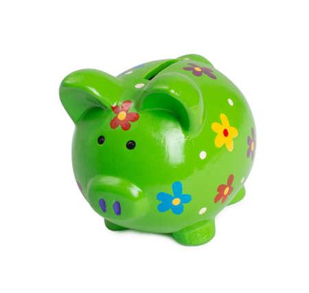 money box: Green piggy bank or money box isolated