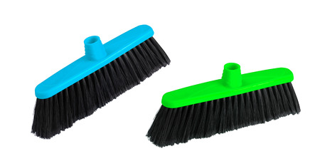 broom handle: Brushes the floor on a white