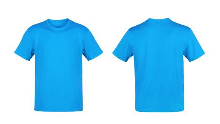 camiseta: Camiseta azul aislado sobre fondo blanco