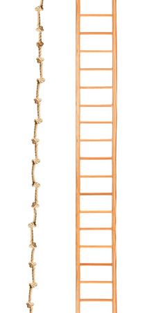 backstairs: Wooden ladder with rope