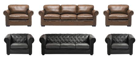arredamento classico: Bel divano e poltrone in pelle di lusso con