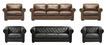 sofa furniture: Nice and luxury leather sofa with armchairs