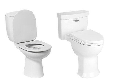 empty the bowel: different toilet bowl isolated on white Stock Photo