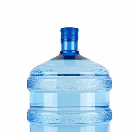 carboy: close up of large bottle of pure water on a white