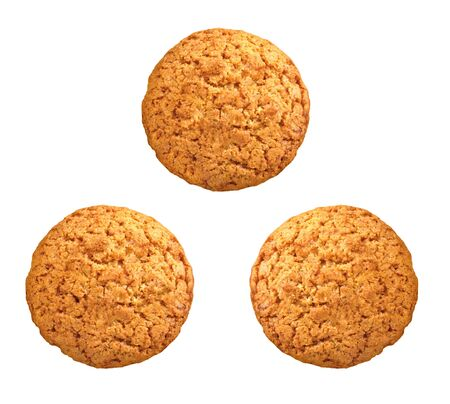 spicecake: sweet brown oatmeal cookies on white background Stock Photo