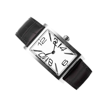 wrist: mans watch with a black leather belt isolated