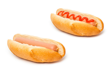 hot summer: hot dog isolated on white Stock Photo