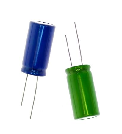 capacitor: Blue and green electronic capacitor
