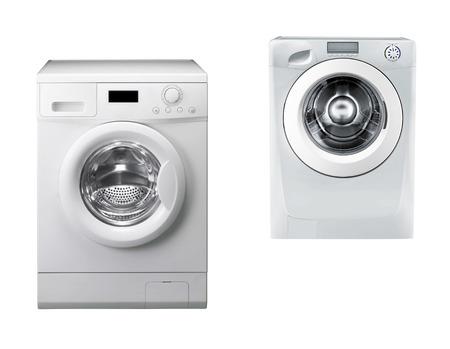 the machine: Washing machines isolated over white