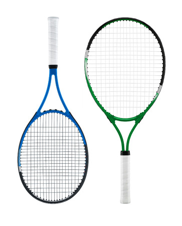 Tennis racket, isolated on white background Banco de Imagens