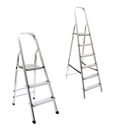 reachability: metal ladder isolated on white