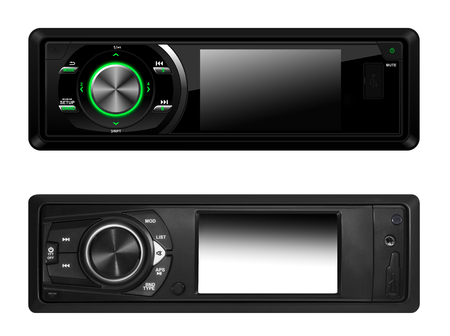 stereo cut: Modern car audio systems isolated over white Stock Photo