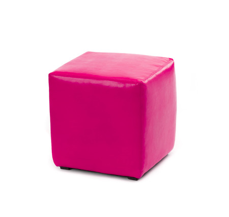 pouf: pink leather foot stool ottoman