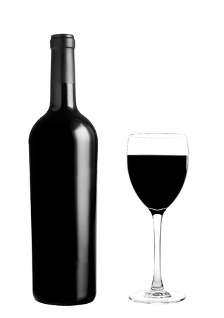 bottle of vine: red wine bottle with glass Stock Photo