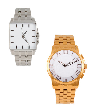 wrist: golden and silver modern wrist watch isolated Stock Photo