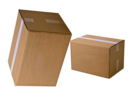 stockpiling: piles of cardboard boxes Stock Photo