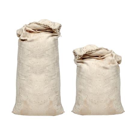 canvas background: Big sacks isolated on white