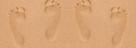 footprint sand: Footprints in sand at the Beach Stock Photo