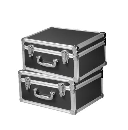 chromed: silver chromed make up box on white background