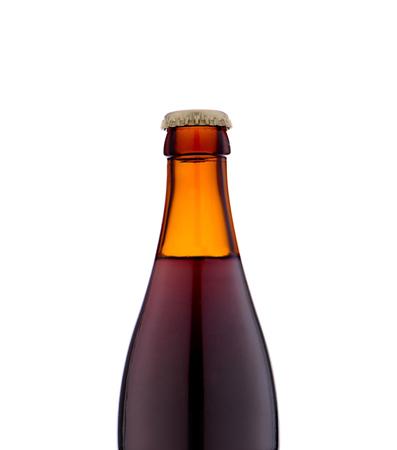 dewed: Bottle of beer close up on white background.