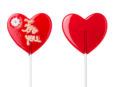 lolli: red heart-lollipops isolated on white