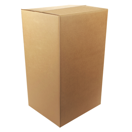 white space: Closed cardboard box taped up and isolated on a white background. Stock Photo