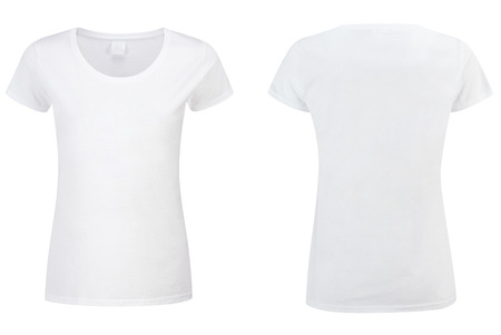 two white T-shirt isolated on white background