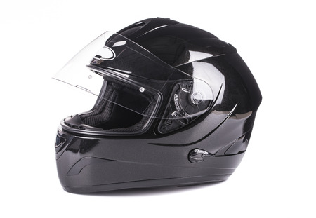 Black helmet Isolated on white background Stock Photo