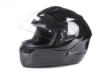 casco de moto: Casco negro aislado sobre fondo blanco