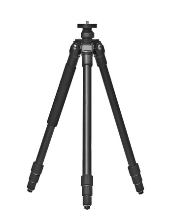 tiny lenses: photo tripod isolated on white background.