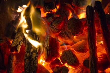 charcoal: burning charcoal