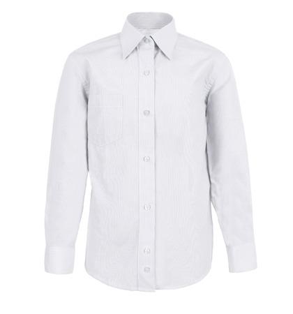 ropa colgada: camisa blanca con mangas largas aisladas sobre fondo blanco