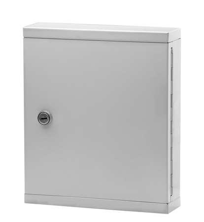 public address: metallic mailboxes Stock Photo