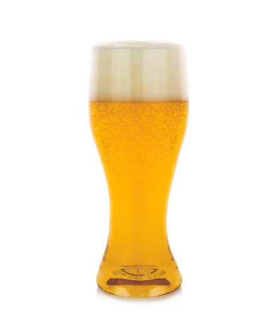 unbottled: Glass of beer isolated on a white background