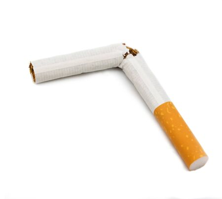 fag: Broken cigarette isolated on white background Stock Photo