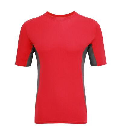 red tshirt: red t-shirt isolated on white background Stock Photo