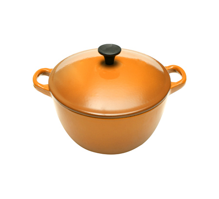 Orange casserole dish or crock pot, isolated on white.