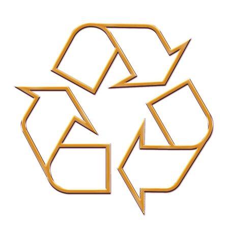 3d illustration golden Recycle Symbol