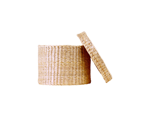 Woven wicker basket on white background Stock Photo
