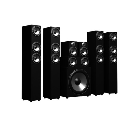 Black Sound Speakers System Isolated On White 版權商用圖片 - 98621288
