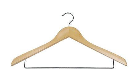 wooden hanger for clothes isolated on white background Stock Photo