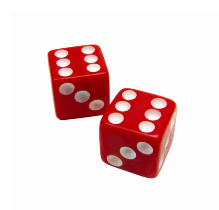 red dices isolated on white Stock Photo