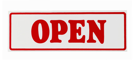 open sign isolated on white Stockfoto