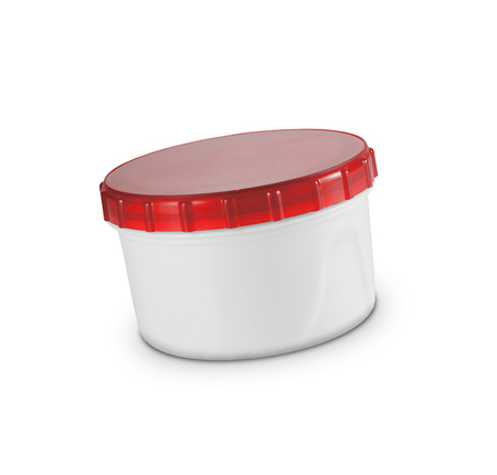 round plastic container on white background