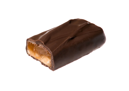 Closeup of chocolate bar isolated