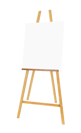 Painting stand wooden easel with blank canvas poster sign board isolated